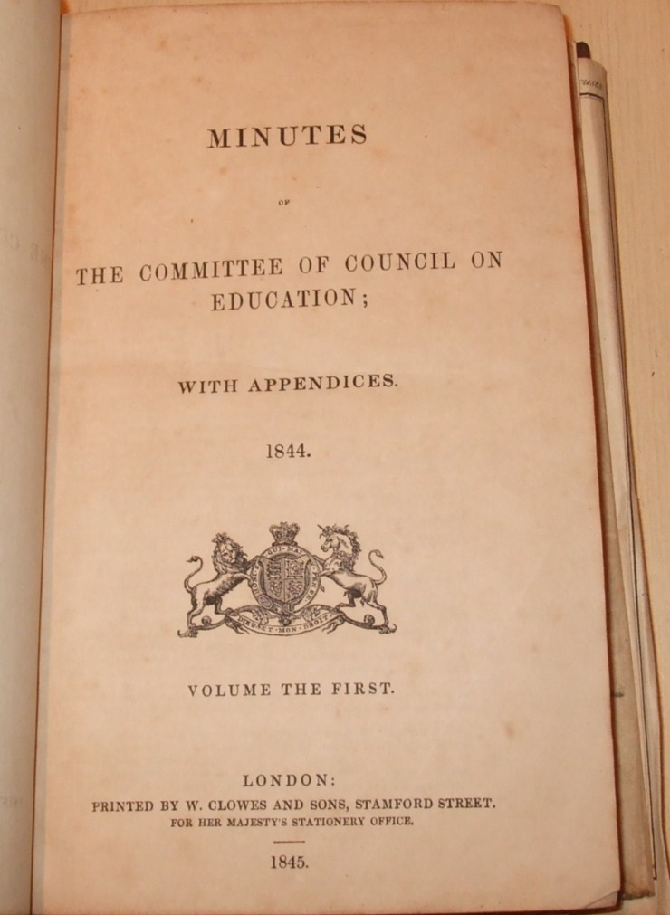Image for Minutes of the Committee of Council on Education; with Appendices 1844 ( with 18 Folding Engraved Plates )