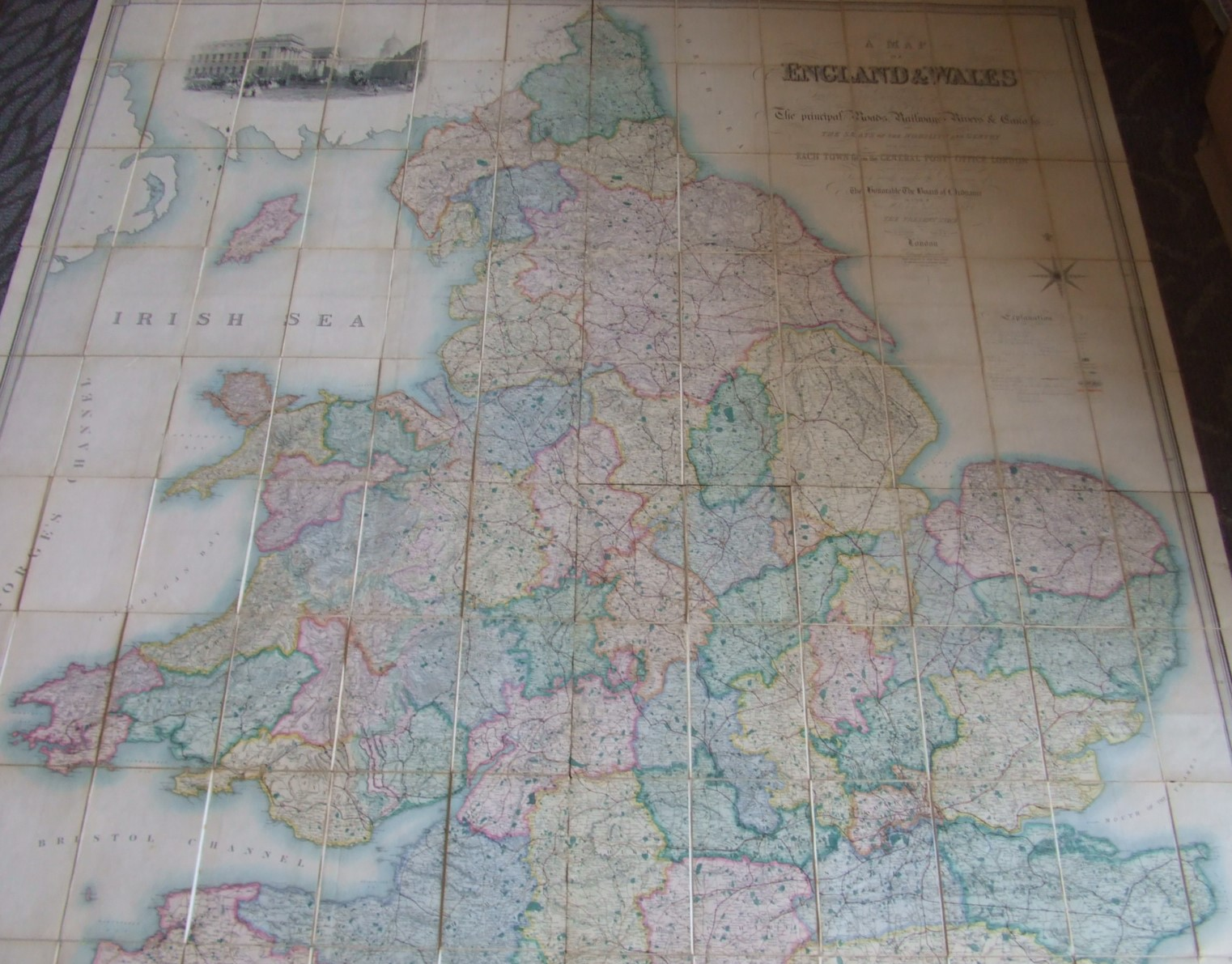 Image for A Map of England and Wales Divided Into Counties Parliamentary Divisons & Dioceses Shewing The Principal Roads Railways Rivers & Canals and the Seats of the Nobility and Gentry with the Distance of Each Town from the General Post Office, London