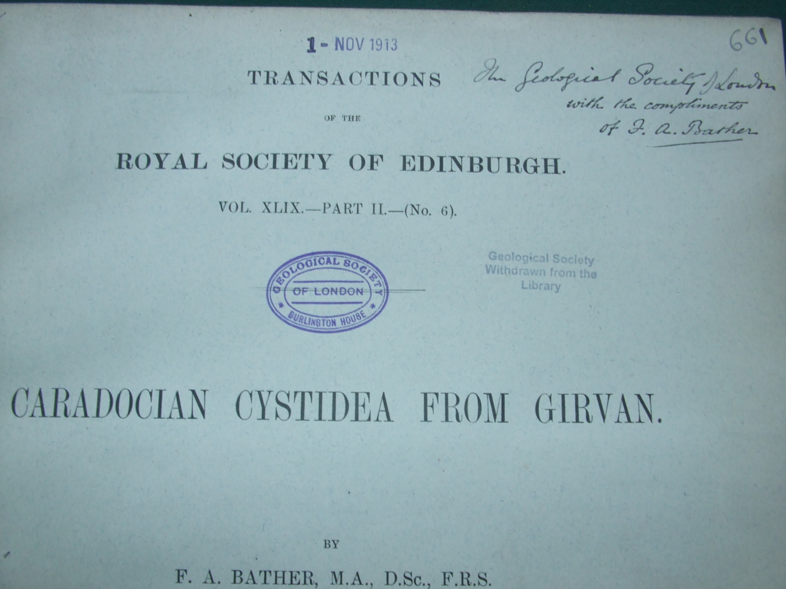 Image for Caradocian Cystidea from Girvan [ Gift Inscription from Author ]