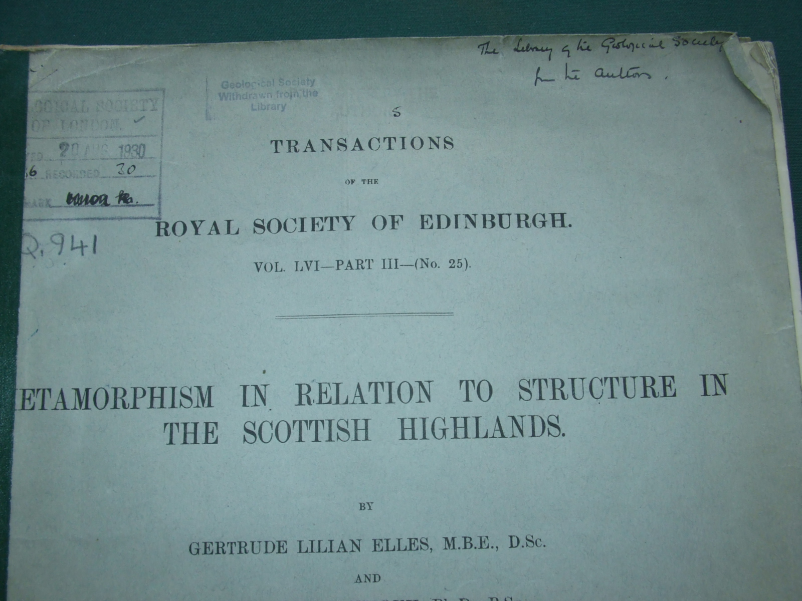 Image for Metamorphism in Relation to Structure in the Scottish Highlands [ Inscribed Copy ]