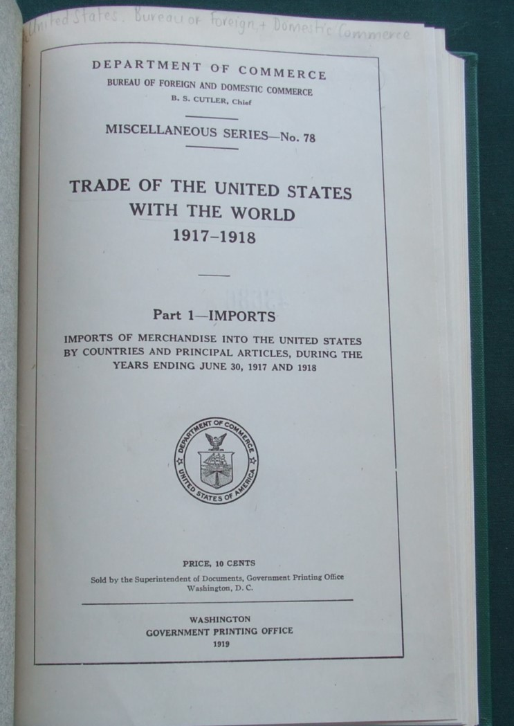 Image for Trade of the United States with the World 1917-1918 [ 2 Parts ]