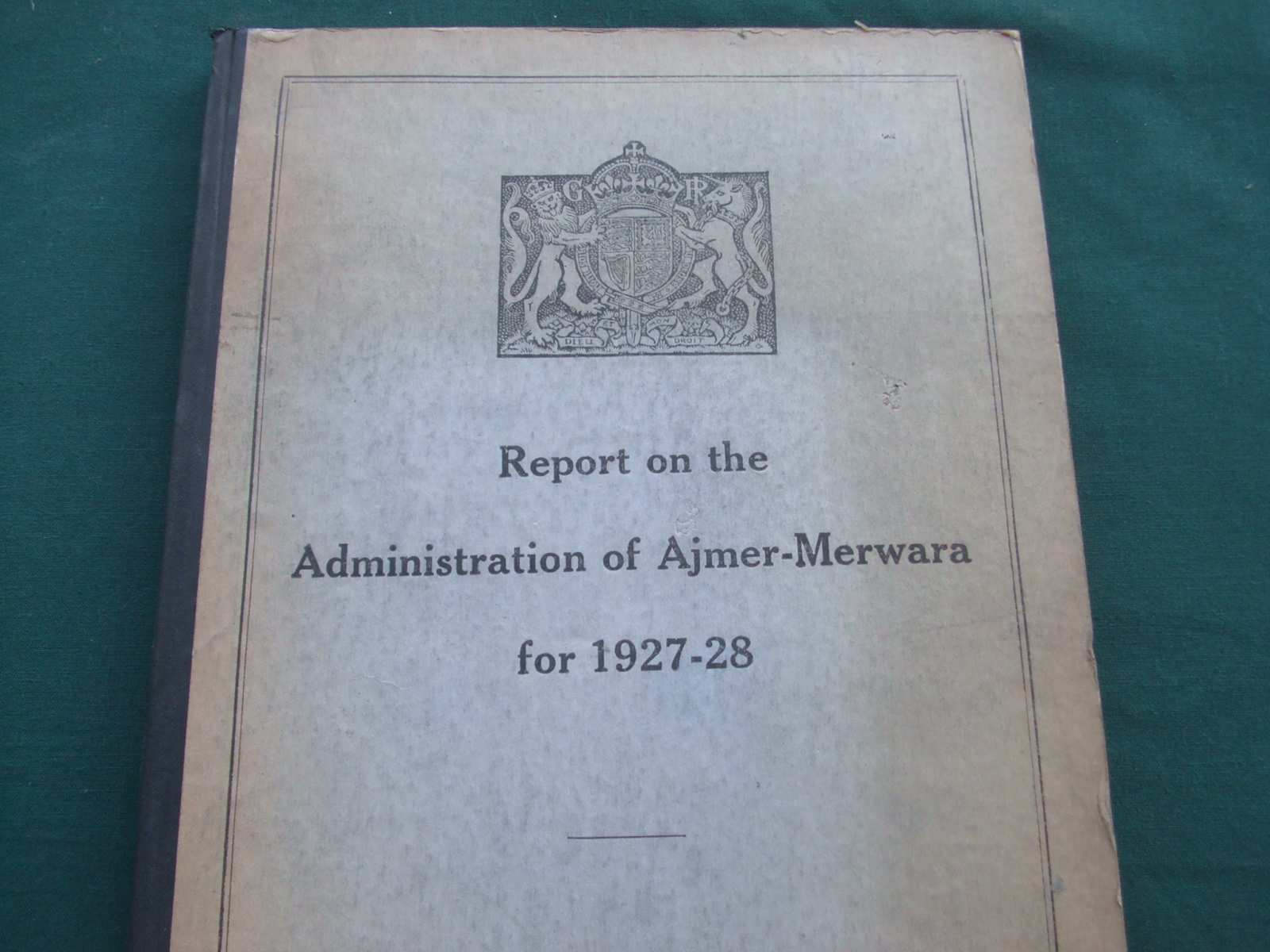 Image for Report on the Administration of Ajmer-Merwara for 1927-1928