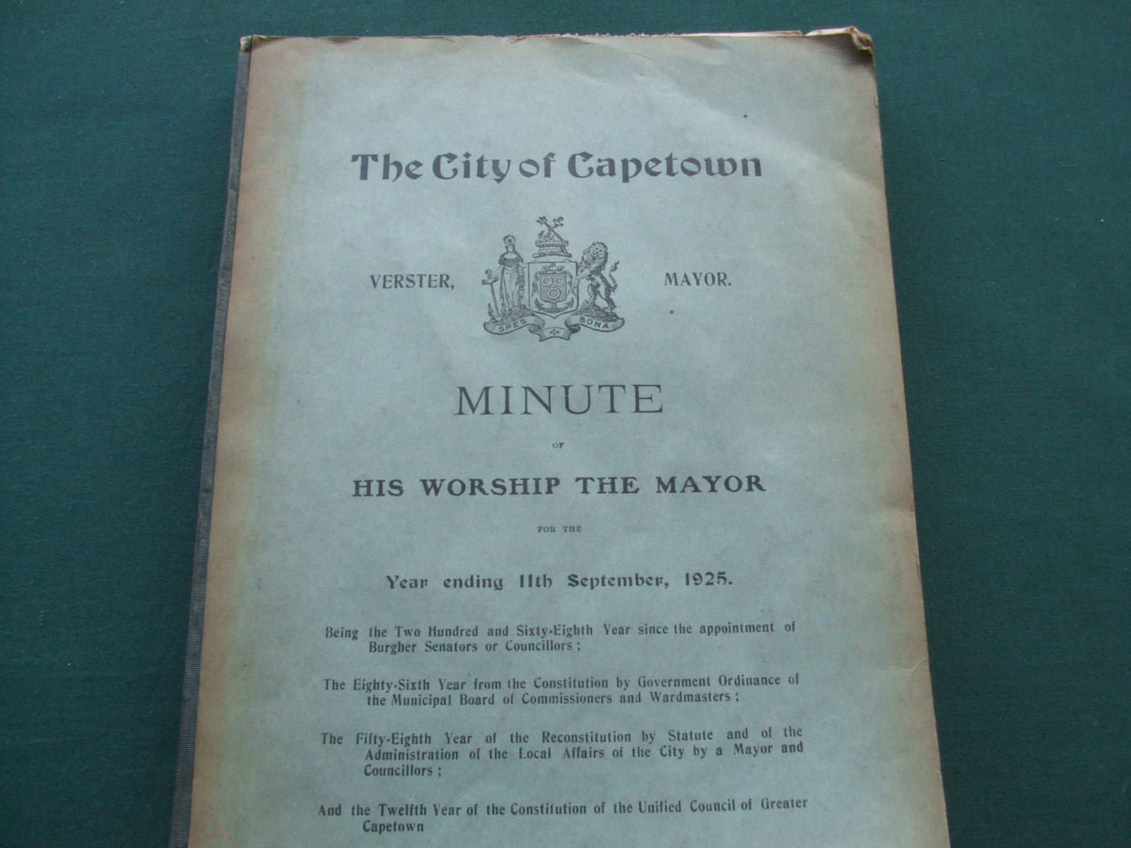 Image for The City of Capetown Minute of His Worship the Mayor for the Year Ending 11th September, 1925.
