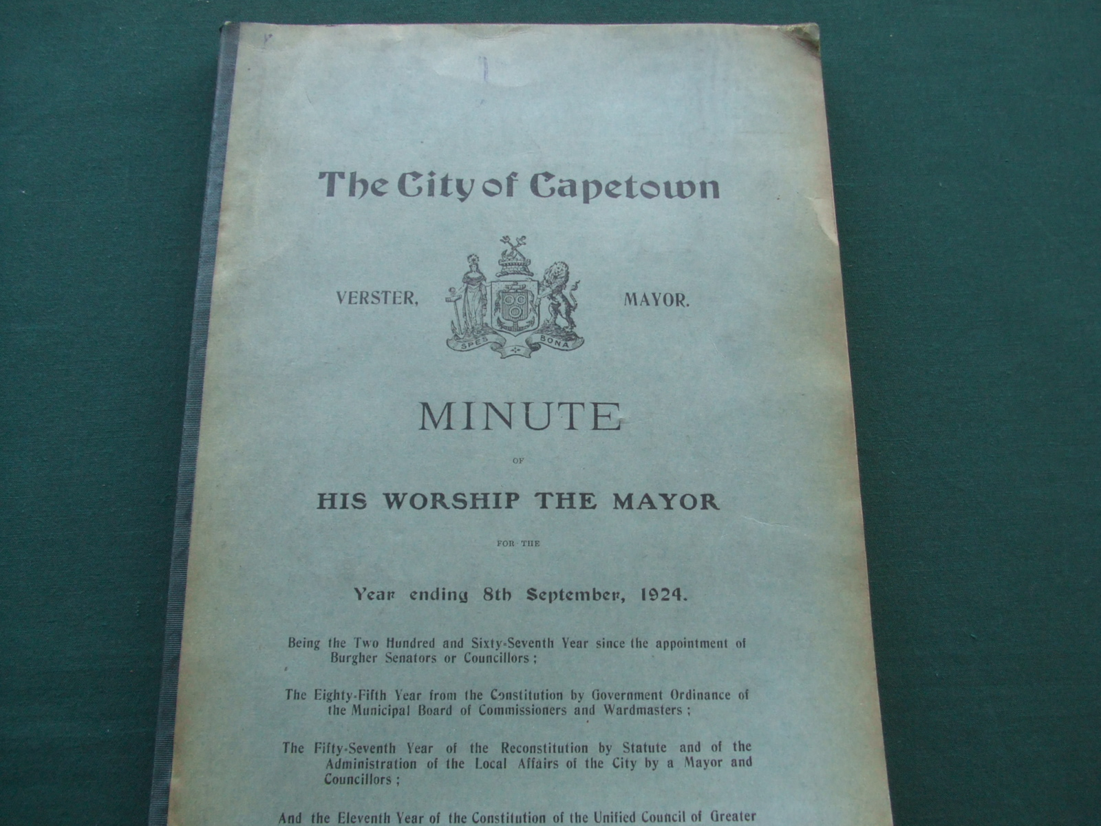 Image for The City of Capetown Minute of His Worship the Mayor for the Year Ending 7th September, 1924.