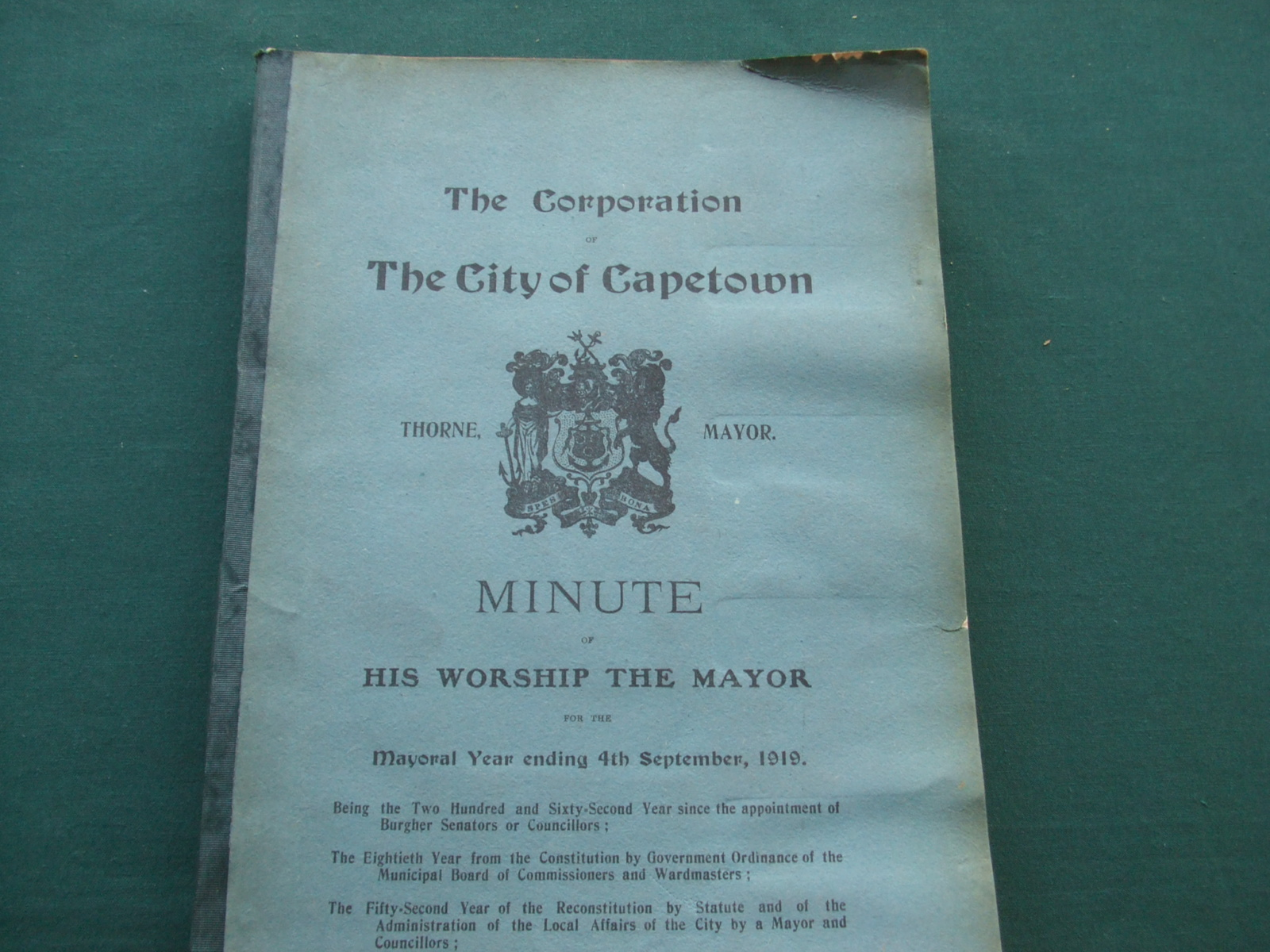 Image for The City of Capetown Minute of His Worship the Mayor for the Year Ending 7th September, 1919.