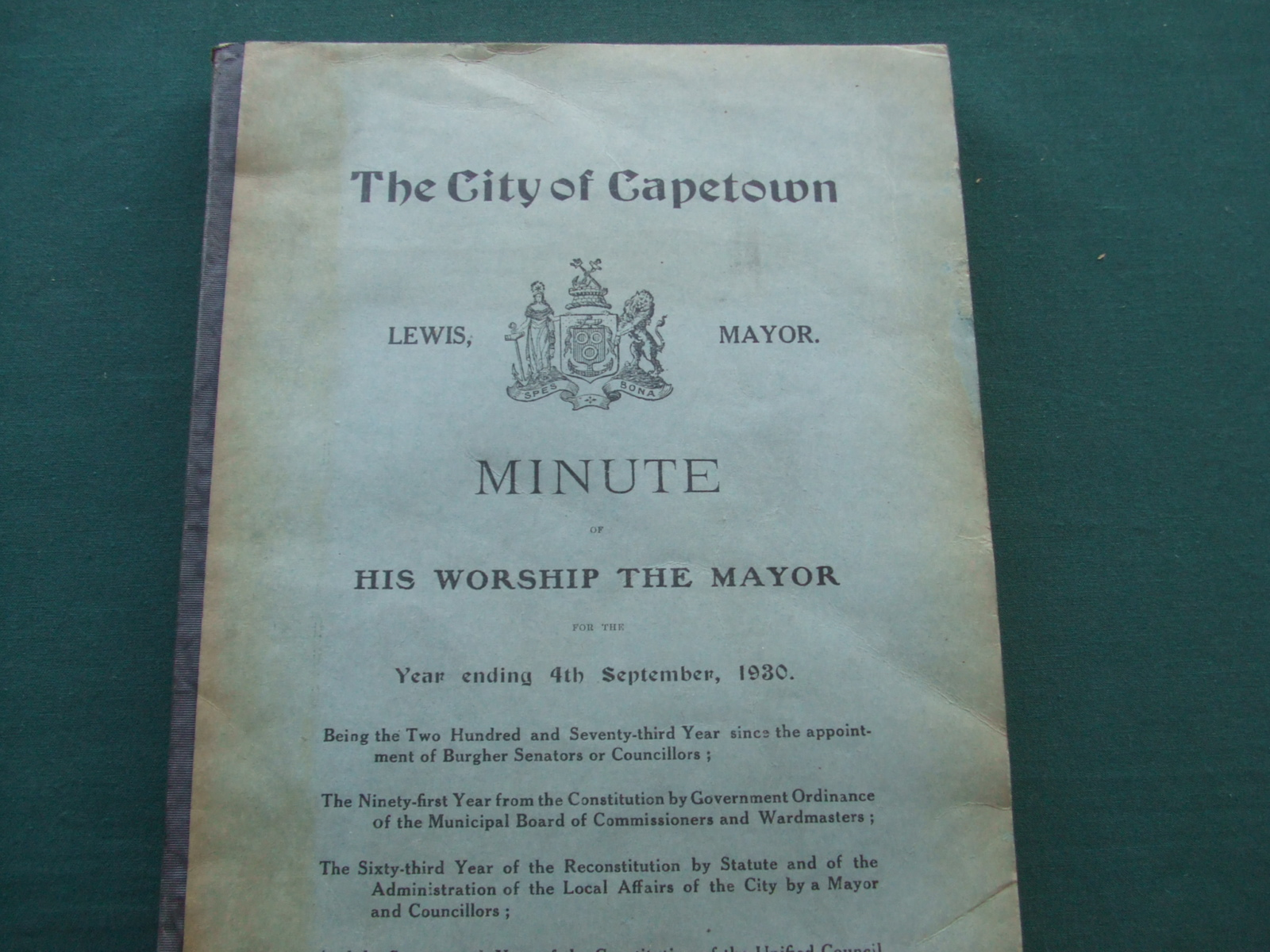 Image for The City of Capetown Minute of His Worship the Mayor for the Year Ending 7th September, 1930.