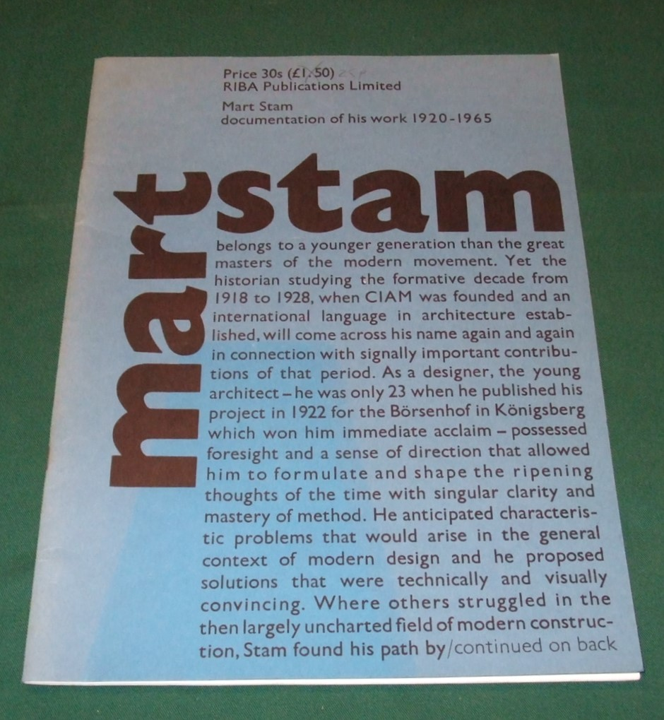 Image for Mart Stam Decumentation of His Work 1920-1965