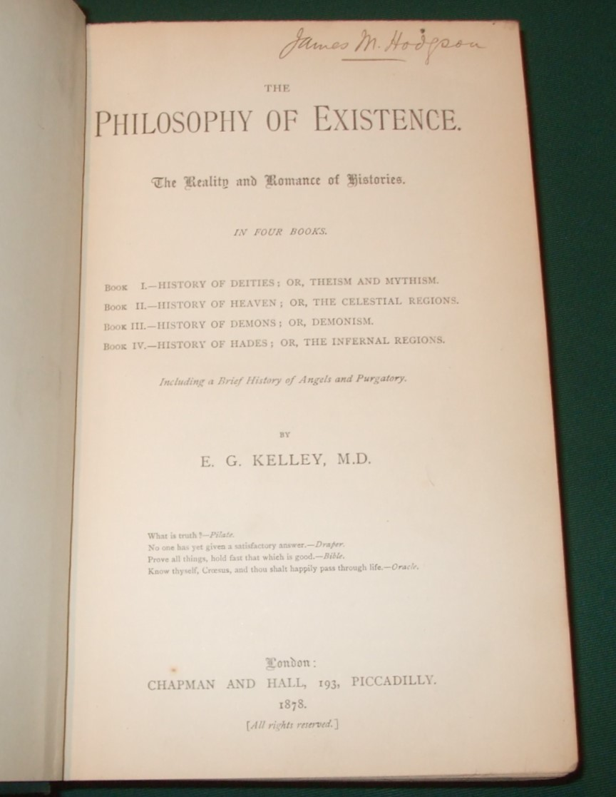 Image for The Philosophy of Existence, the reality and romance of histories in four Books