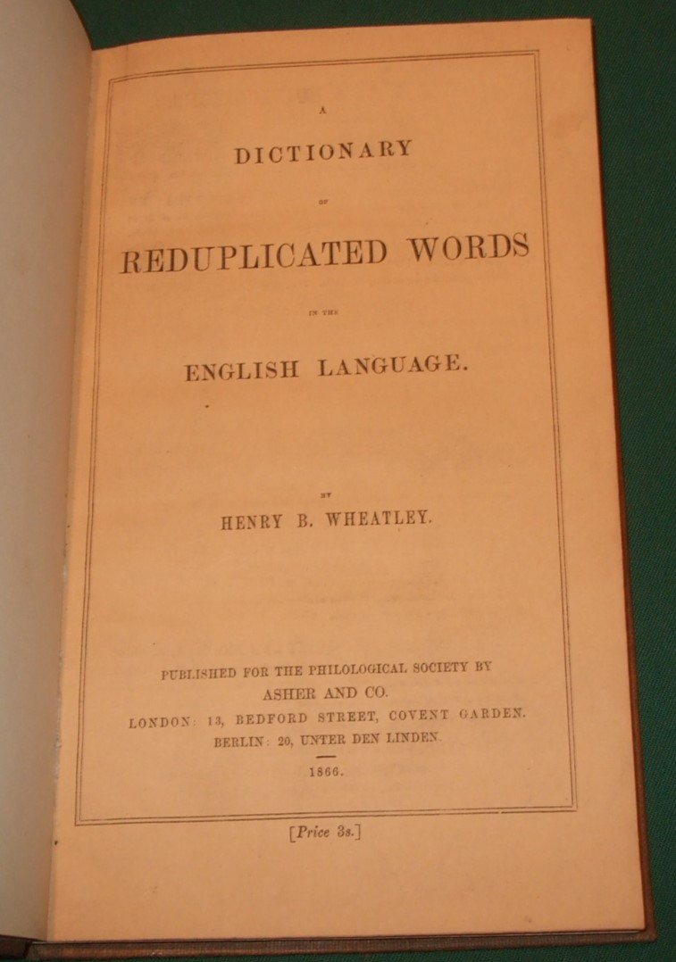 Image for A Dictionary of Reduplicated Words in the English Language