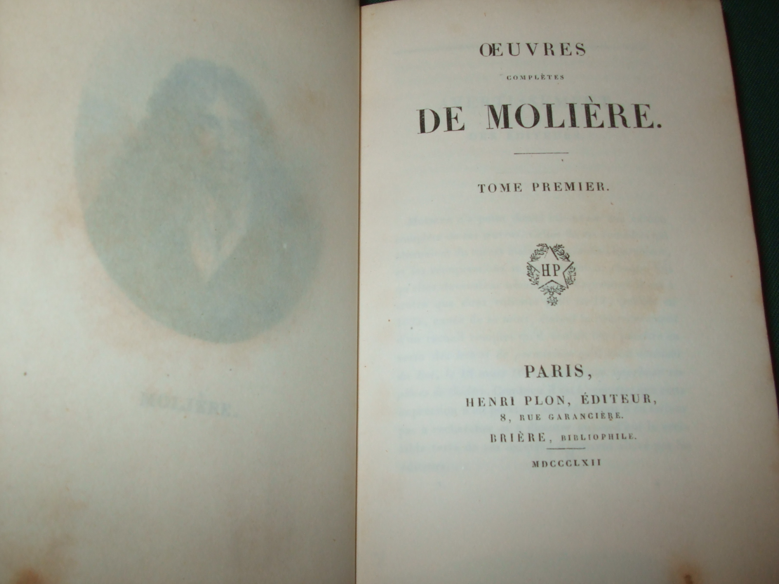 Image for Oeuvres Completes De Moliere [ Complete in 8 Volumes, Leather Bound ]