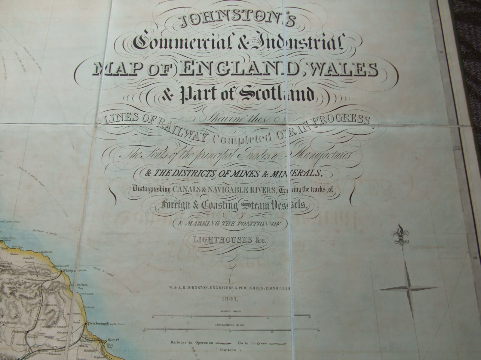 Image for Johnston's Commercial & Industrial Map of England and Wales & Part of Scotland Showing the Lines of Railway Complete or in Progress the Seats of the Principal Trades & Manufactures & the Districts of Mines & Minerals, Distinguishing Canals & Navigable .