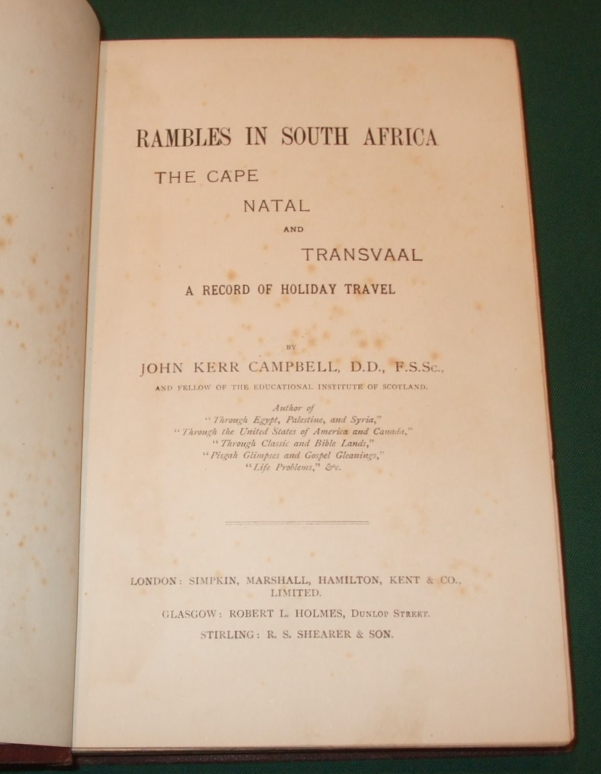 Image for Rambles in South Africa. The Cape, Natal and Transvaal. A Record of Holiday Travel.