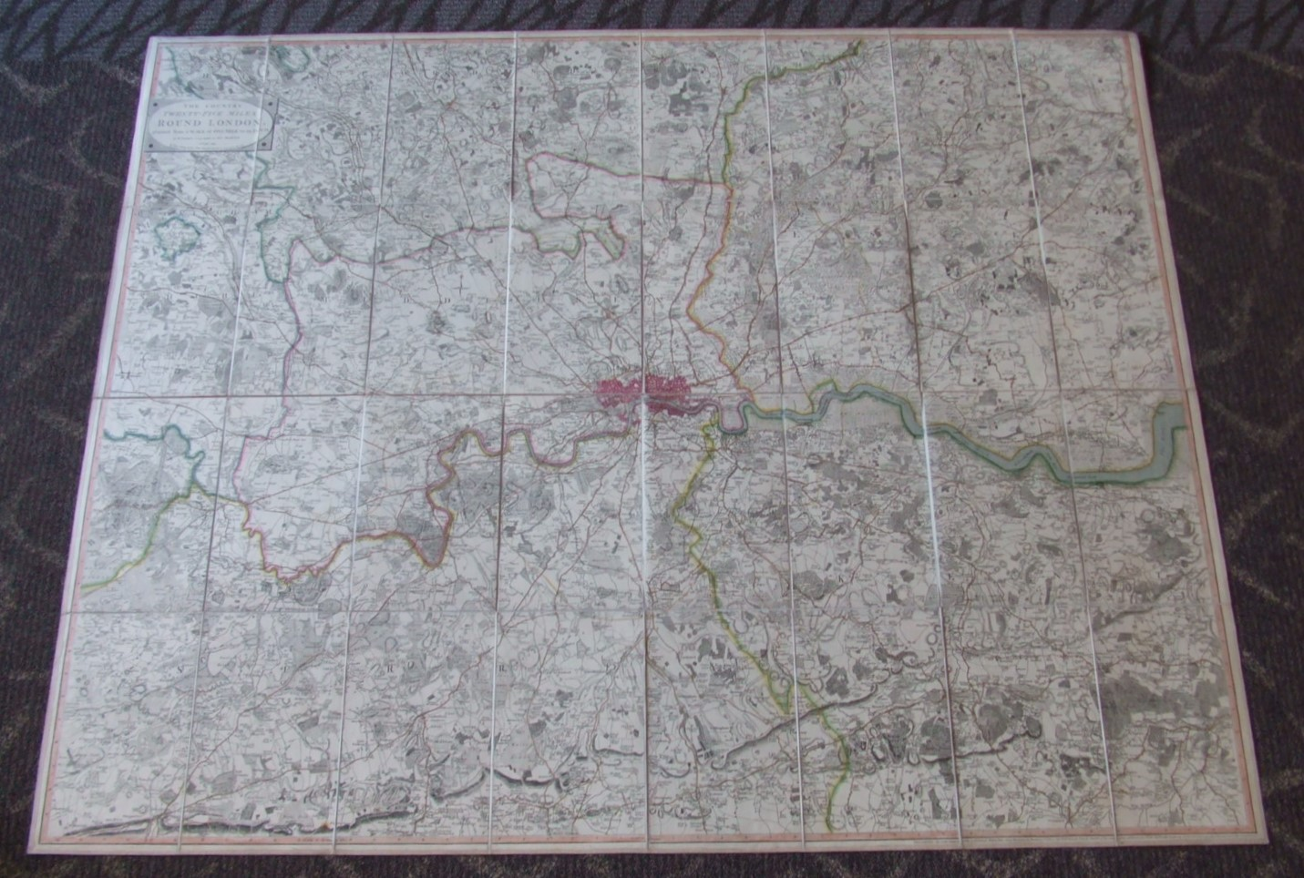 Image for The Country Twenty-Five Miles Round London  [ from Windsor to Basildon, and Ware to Reigate ] Large Coloured Map