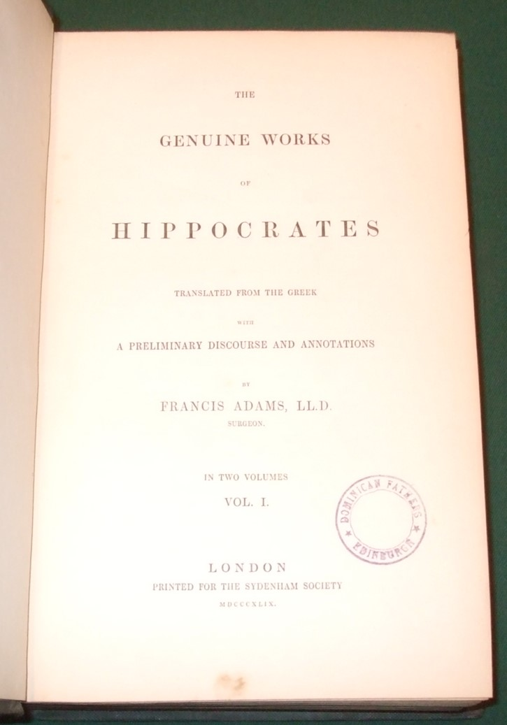 Image for The Genuine Works of Hippocrates. Translated from the Greek with a Preliminary Discourse and Annotations [ Complete in 2 Volumes ]