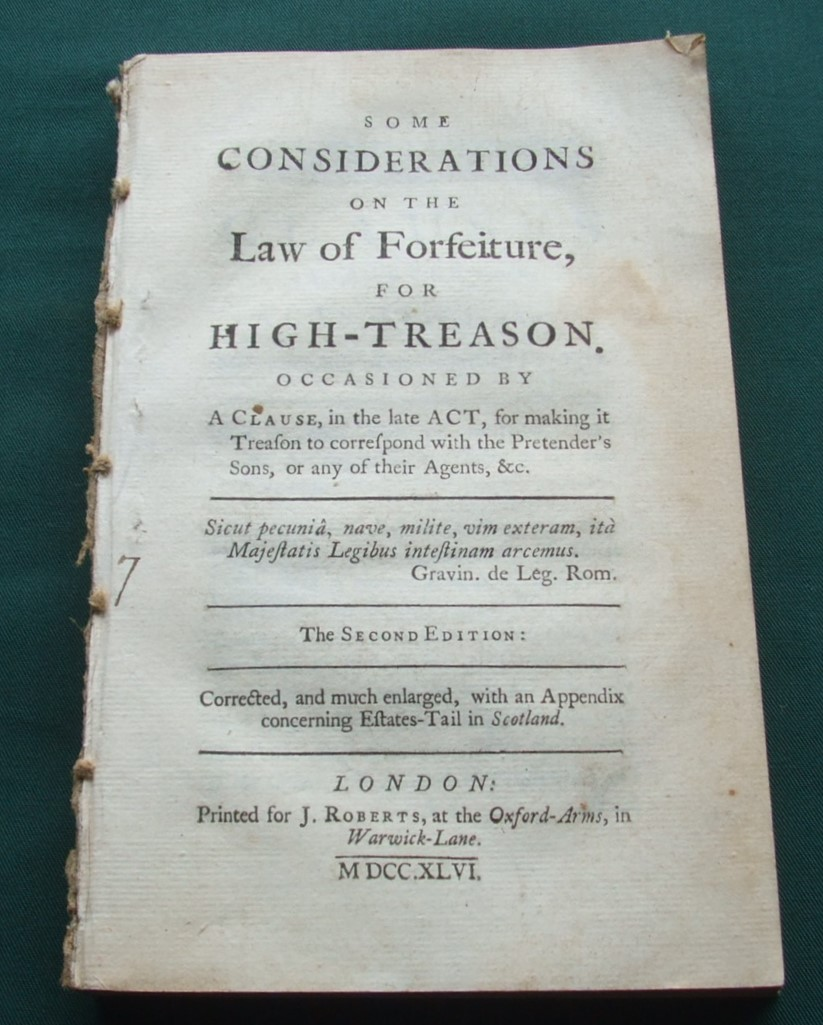 Image for Some Considerations on the Law of Forfeiture for High Treason [ Jacobite Peers ]