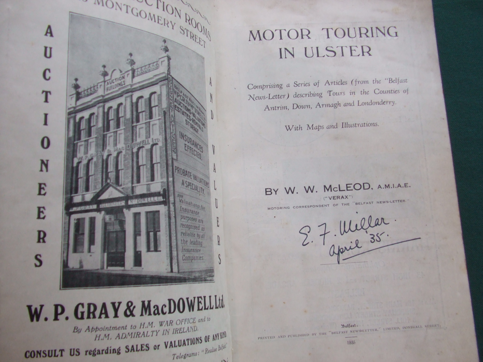 Image for Motoring in Ulster: a Guide to a Series of Tours with Maps and Illustrations, Routes Described with Historical Notes