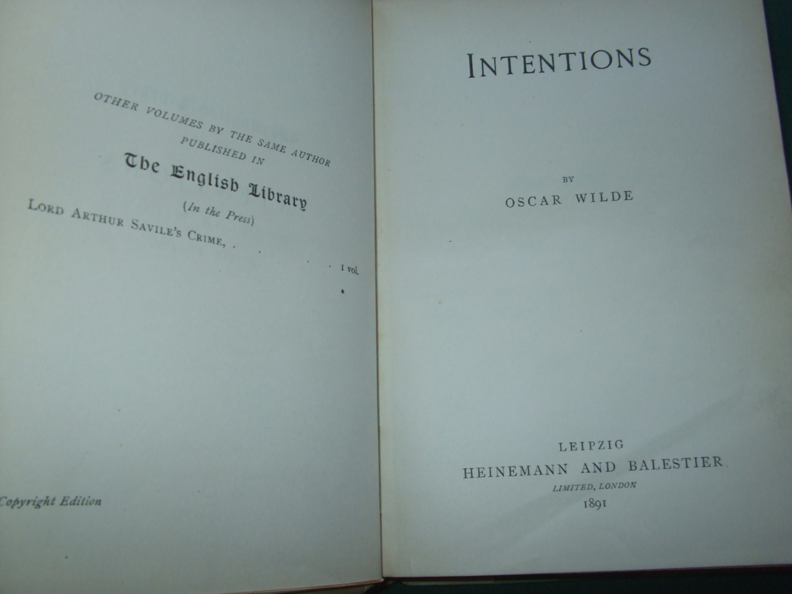 Image for Intentions  [ the English Library No 54. Half Vellum ]
